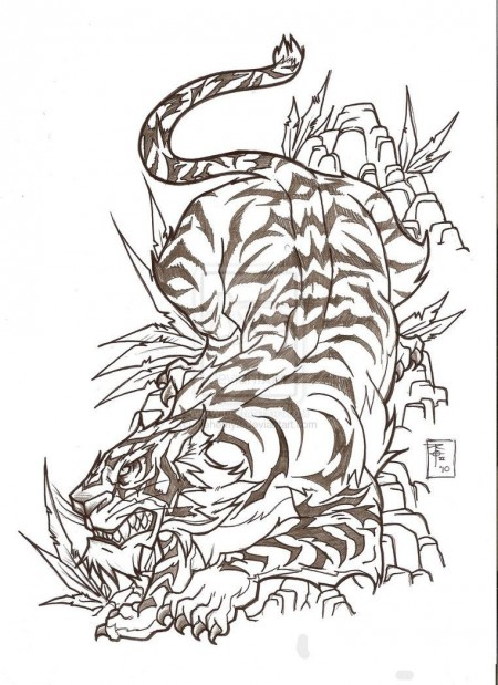 Amazing Japanese Tiger Tattoo Design By Nehemya