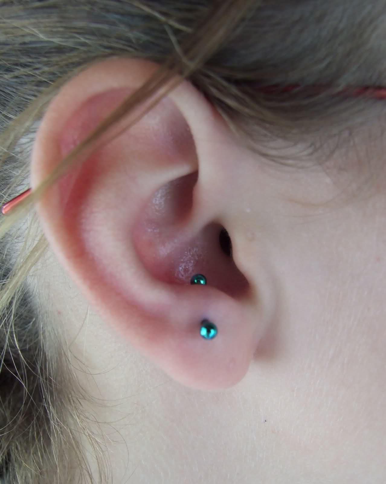 Beautiful Daith Piercing And Anti Tragus piercing With Diamond Barbell