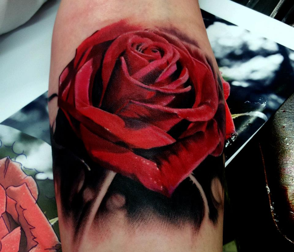 Clock forearm black rose sleeve tattoo - Awesome 3d Red Rose Tattoo Design For Forearm