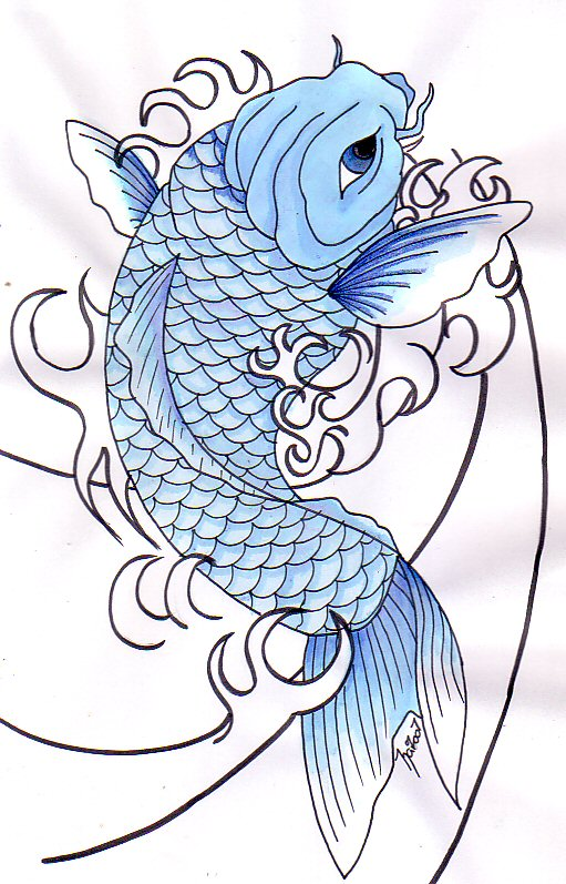 30 koi fish tattoo designs with meanings for Blue japanese koi fish