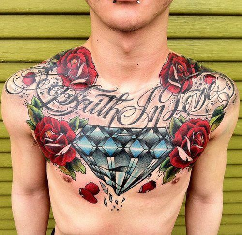 Awesome Diamond With Red Roses Tattoo On Man Chest
