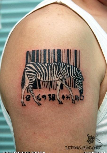 zebra tattoo on right shoulder by caglar