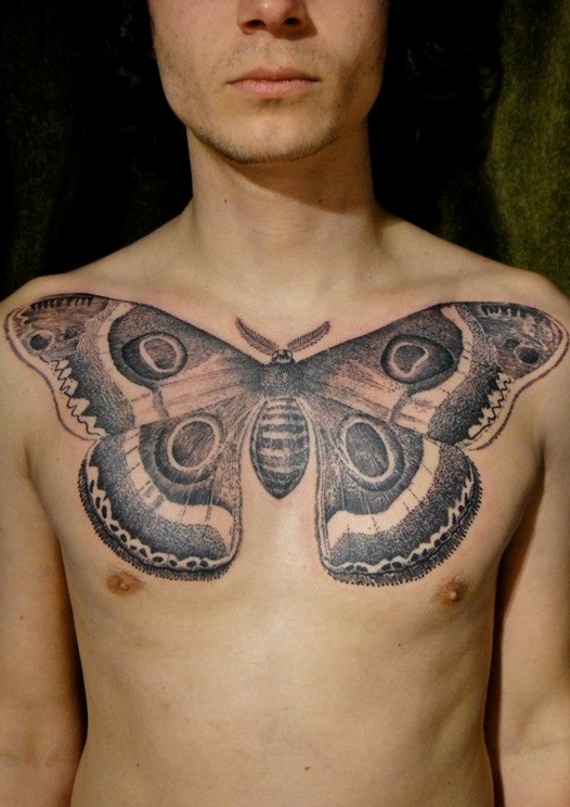 Black and grey realistic eye tattoo on man chest for Black and grey chest tattoos