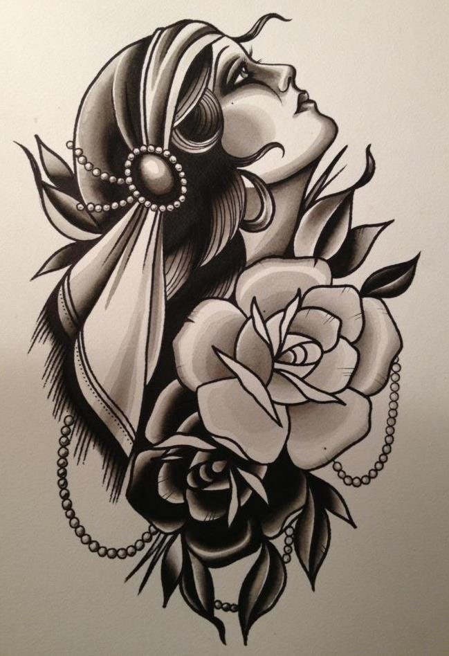 13 latest gypsy tattoo designs samples and ideas for Black and grey tattoo designs