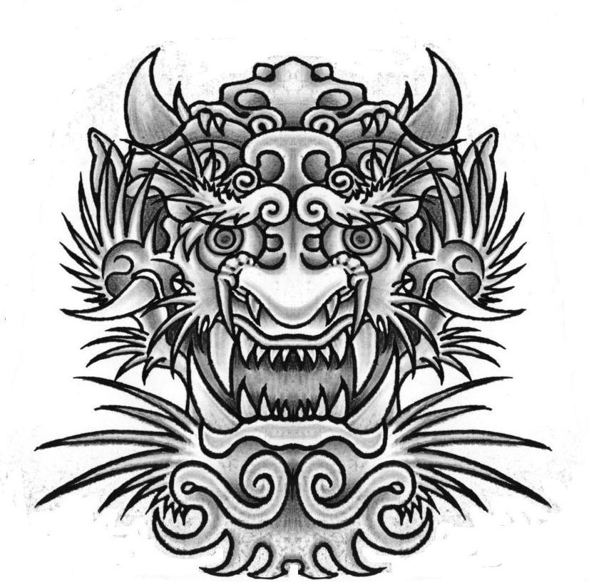 Black ink japanese flower tattoo design for Asian face tattoos