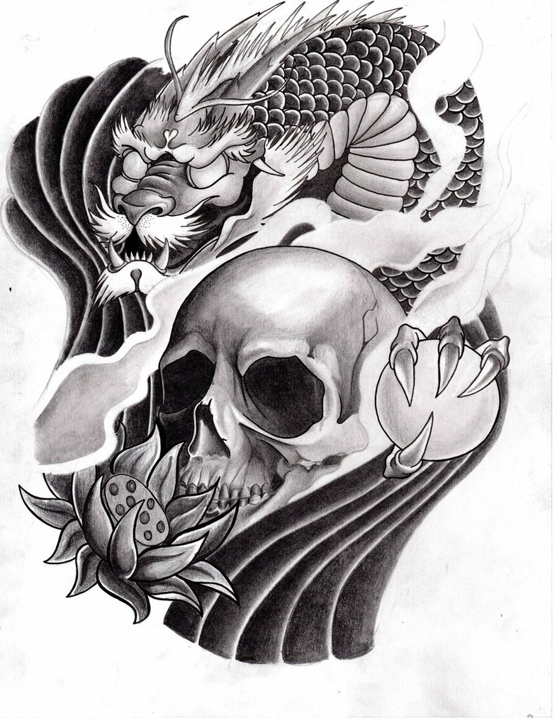 Black and grey japanese dragon with skull tattoo design for Black and grey tattoo designs