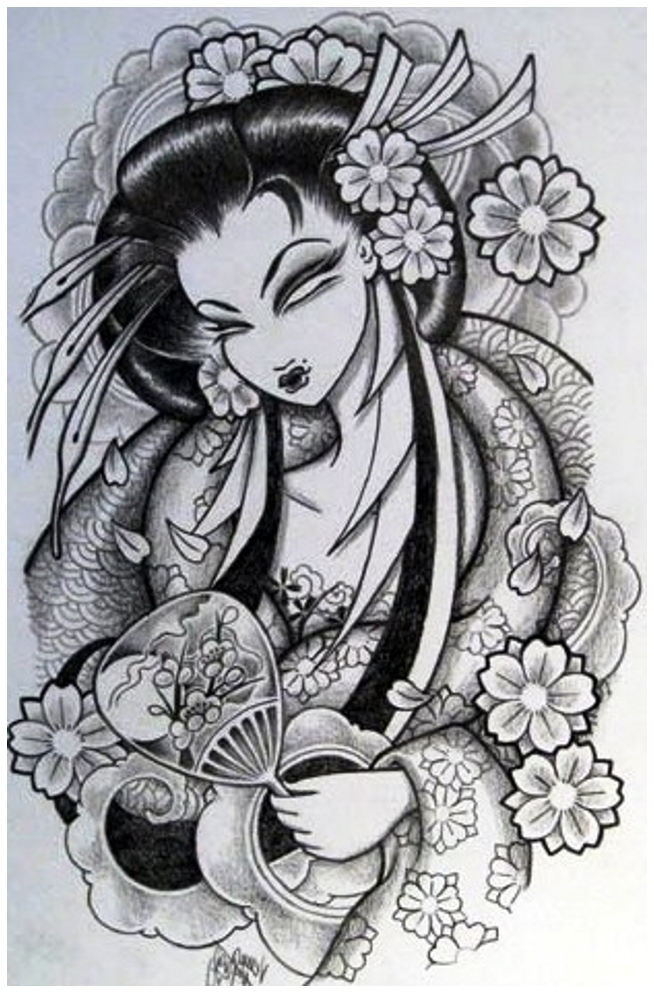 black and grey japanese girl tattoo design - Tattoo Design Ideas