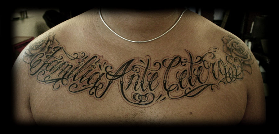 22 lettering tattoo images pictures and design ideas for Chest tattoo writing