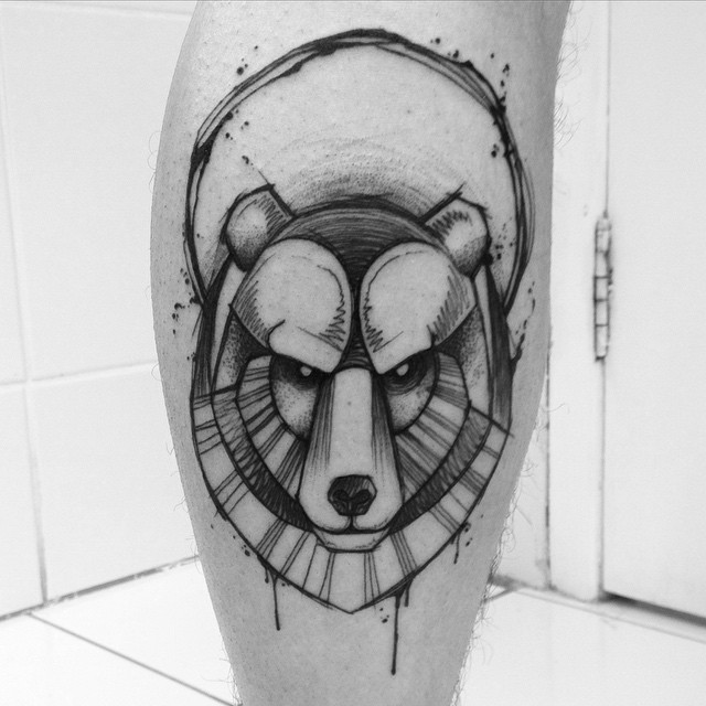 Black Ink Geometric Bear Head Tattoo On Leg Calf