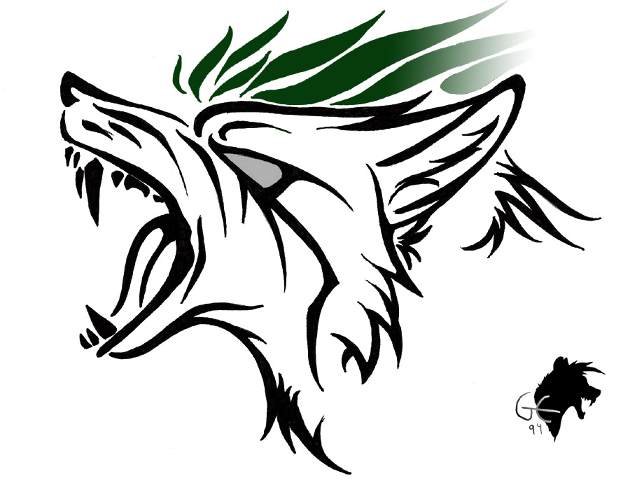 Black Ink Tribal Roaring Wolf Head Tattoo Stencil By Greeneco94