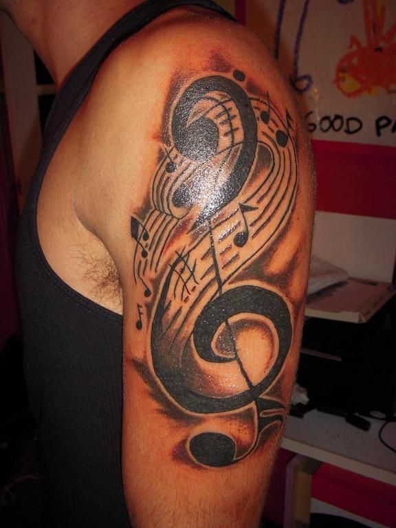 26 cool violin key tattoo images pictures and ideas. Black Bedroom Furniture Sets. Home Design Ideas