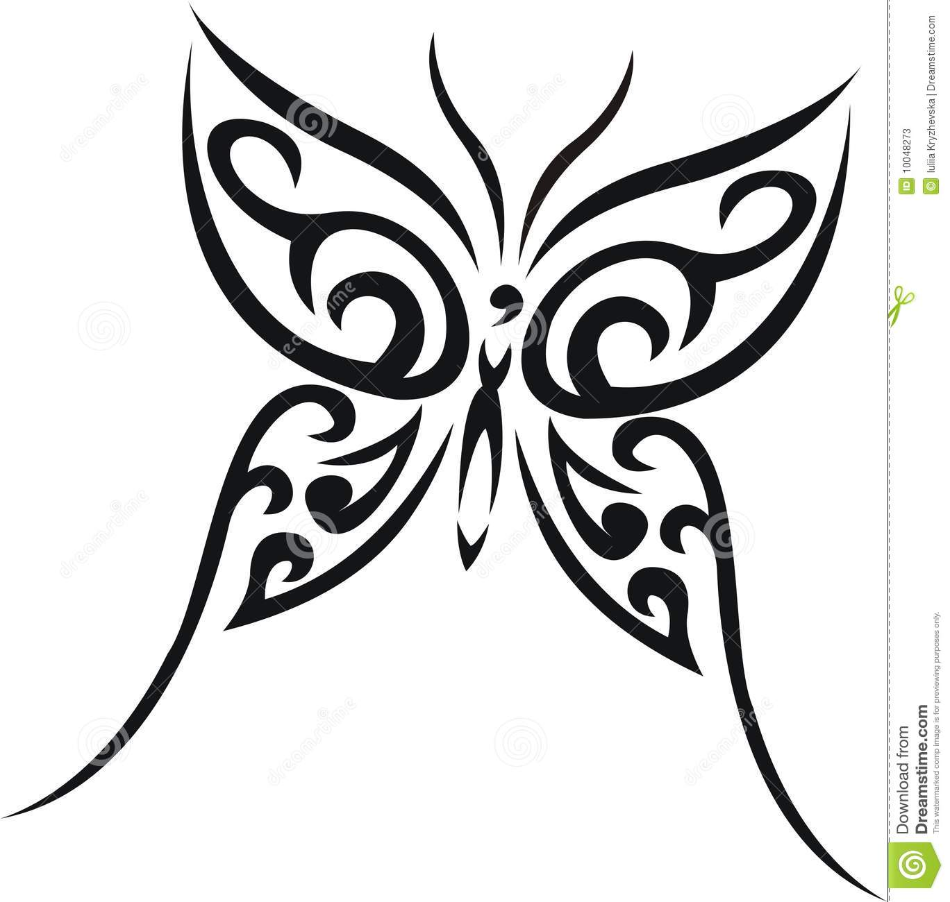 Black Tribal Butterfly Tattoo Stencil