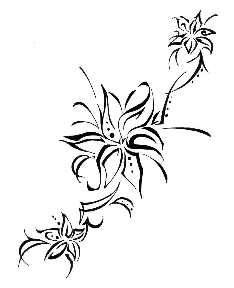 Black tribal lily flowers tattoo stencil by colorfulcandie izmirmasajfo