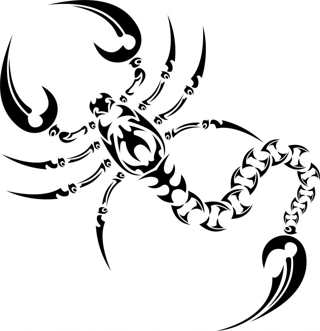 Black Tribal Scorpion Tattoo Stencil