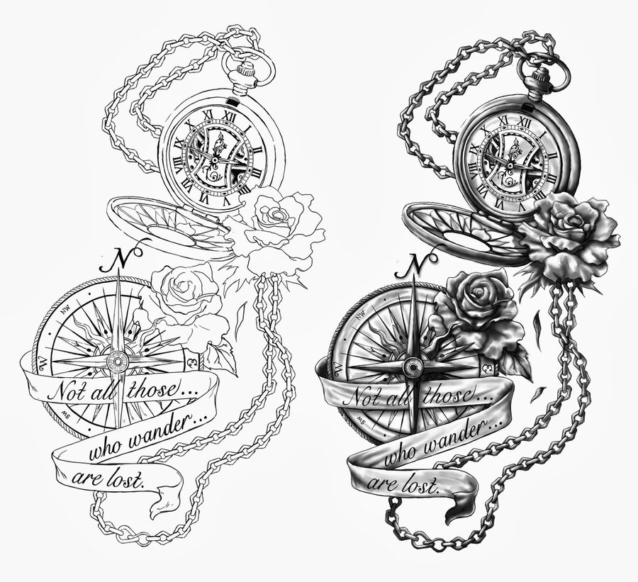 black two pocket watch with compass and rose tattoo design - Tattoo Design Ideas