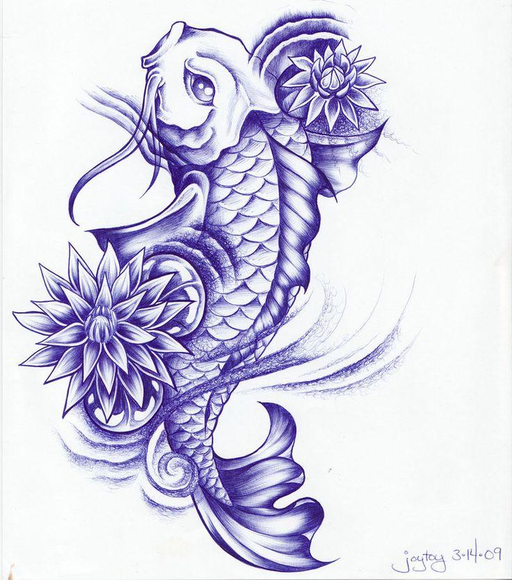 9eb383f64 Blue Ink Koi Fish With Flowers Tattoo Design By Joytoy