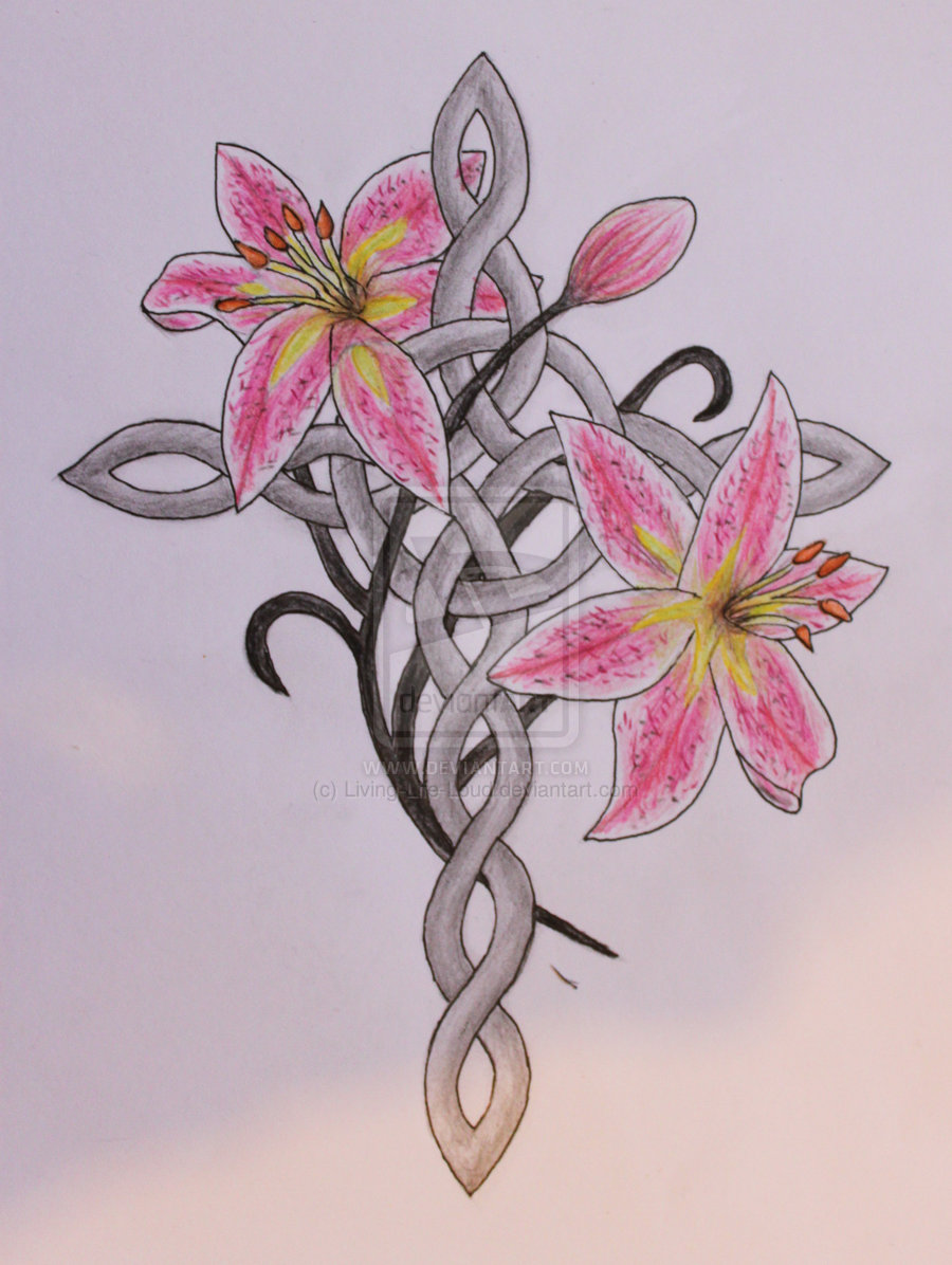 Celtic Cross With Lily Flowers Tattoo Design By Jamie Plant