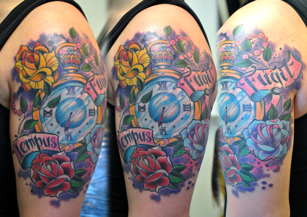727eacacd0501 Colorful Clock With Roses And Banner Tattoo On Left Shoulder · Black And Grey  Thor Tattoo On Man Left Half Sleeve By Charlie