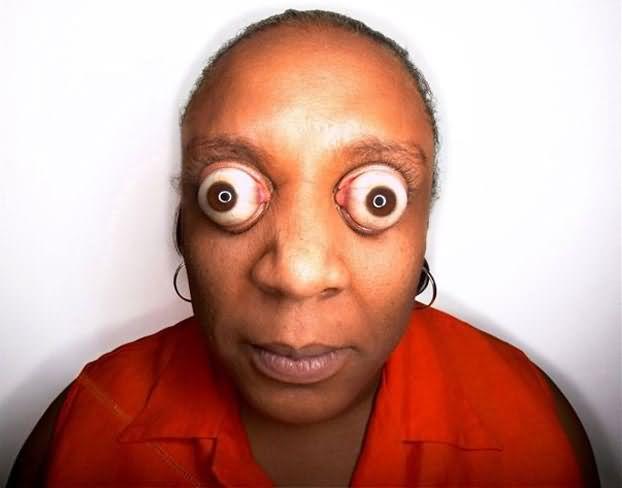 funny girl with big eyes