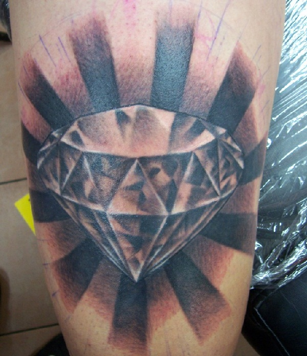 Grey Ink 3d Diamond Tattoo Design By Morepunkthanyou