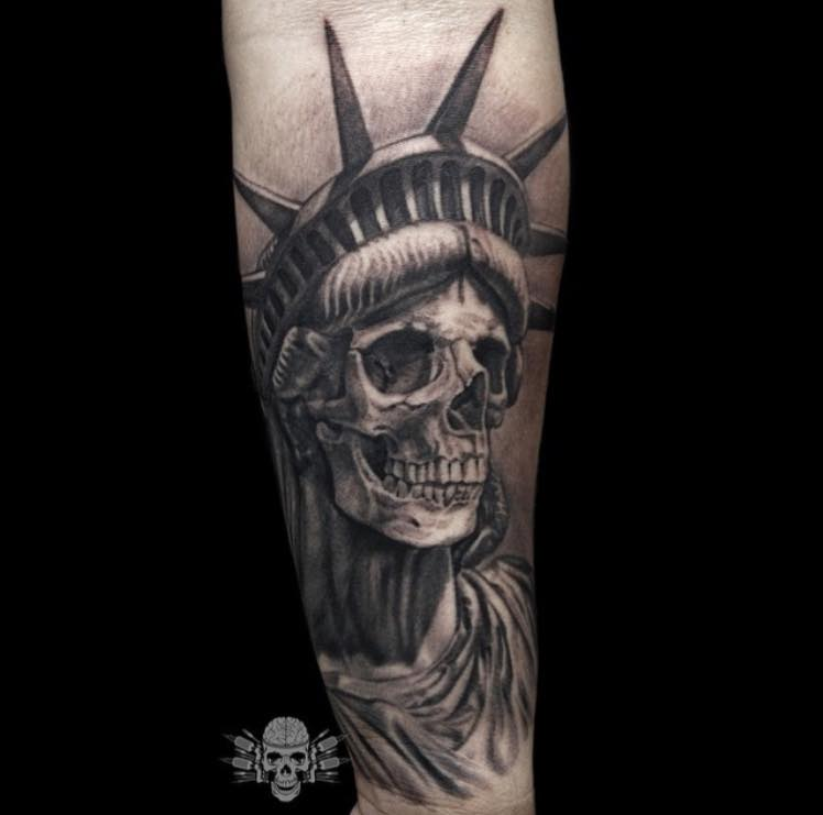 Grey Ink 3d Statue Of Liberty Skull Tattoo Design For Forearm By