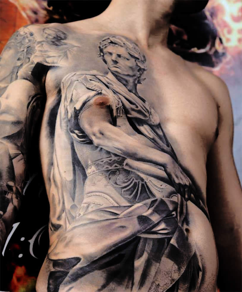 Grey Ink 3d Statue Tattoo On Man Full Body By Miguel Bohigu