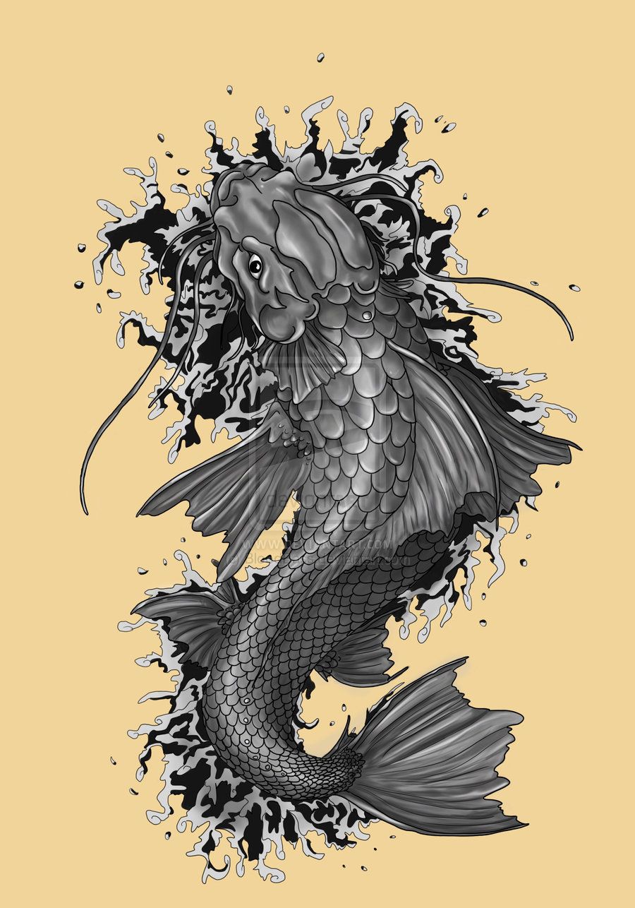 21 koi fish tattoo design and ideas for Koi fish black and grey