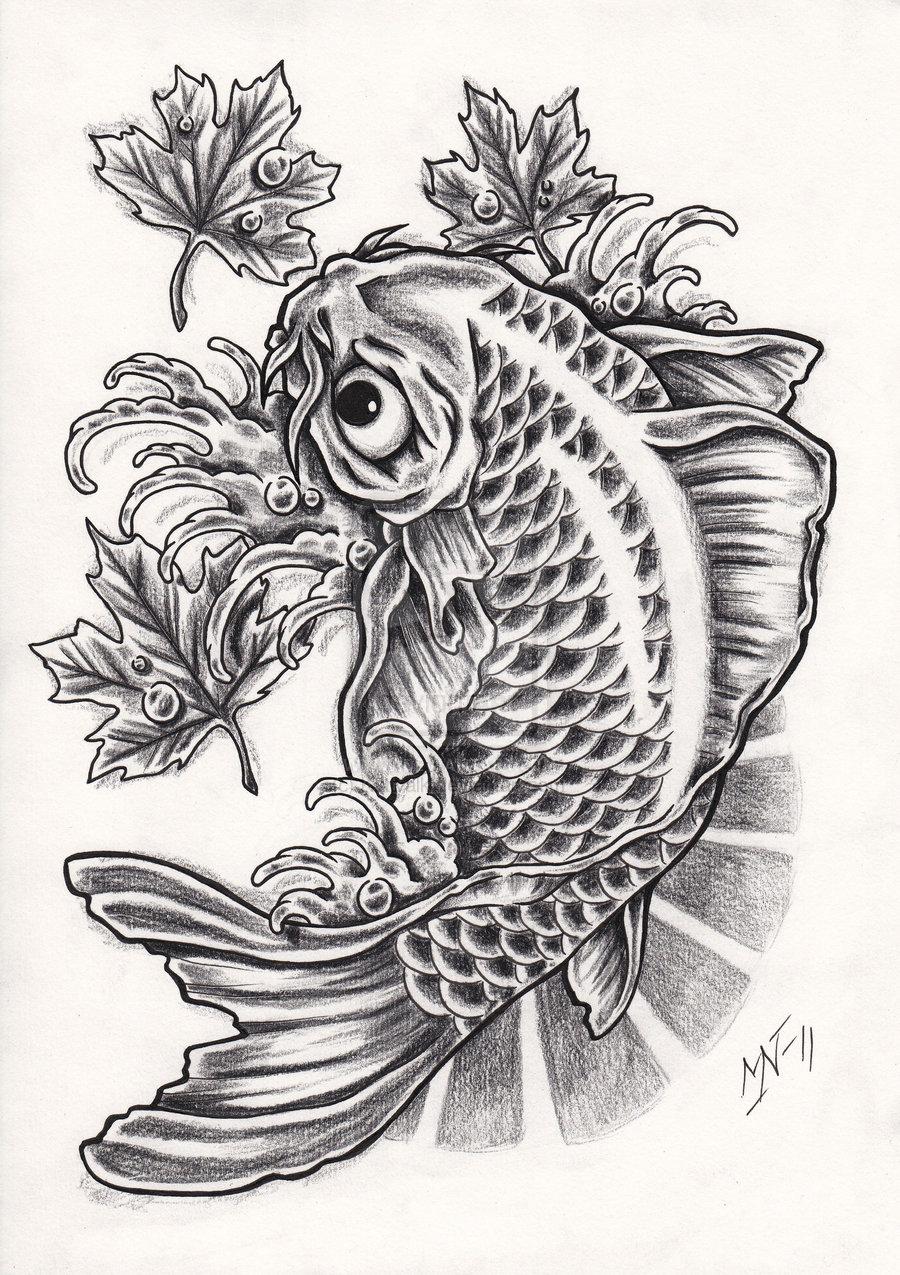 Black And Grey Koi Fish Sleeve Tattoos: 21 Koi Fish Tattoo Design And Ideas