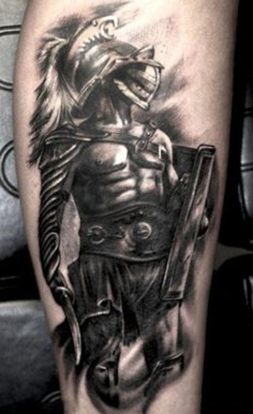 grey ink warrior with wings and sword tattoo design. Black Bedroom Furniture Sets. Home Design Ideas