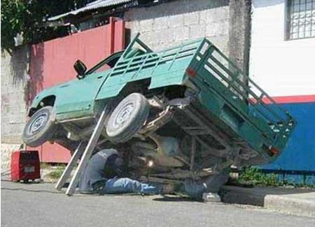 Guy Repair Vehicle Without Any Safety Funny Picture