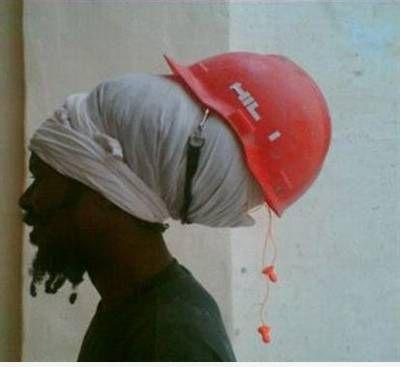 Guy With Weird Helmet For Safety Funny Image