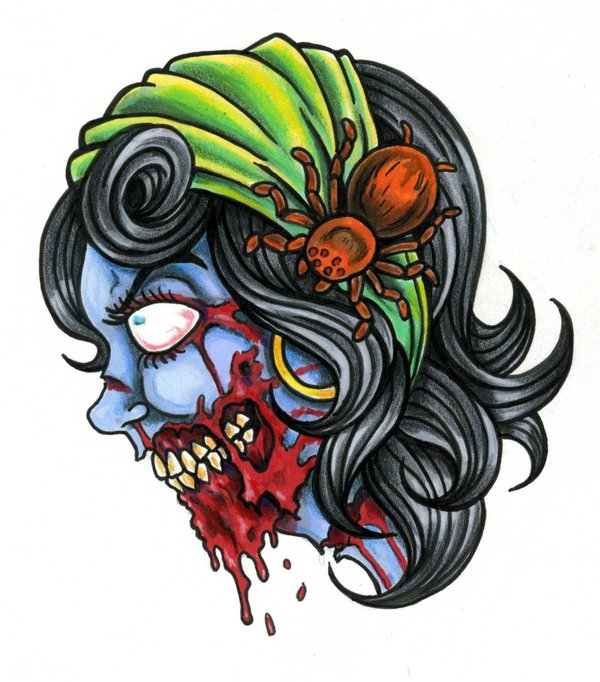 colorful zombie girl face tattoo on hand by scotty munster. Black Bedroom Furniture Sets. Home Design Ideas