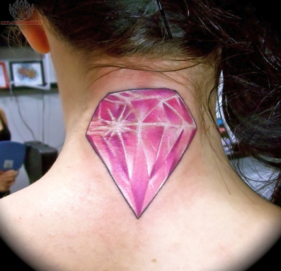 brilliant clear eye inside triangle color tattoo on nape