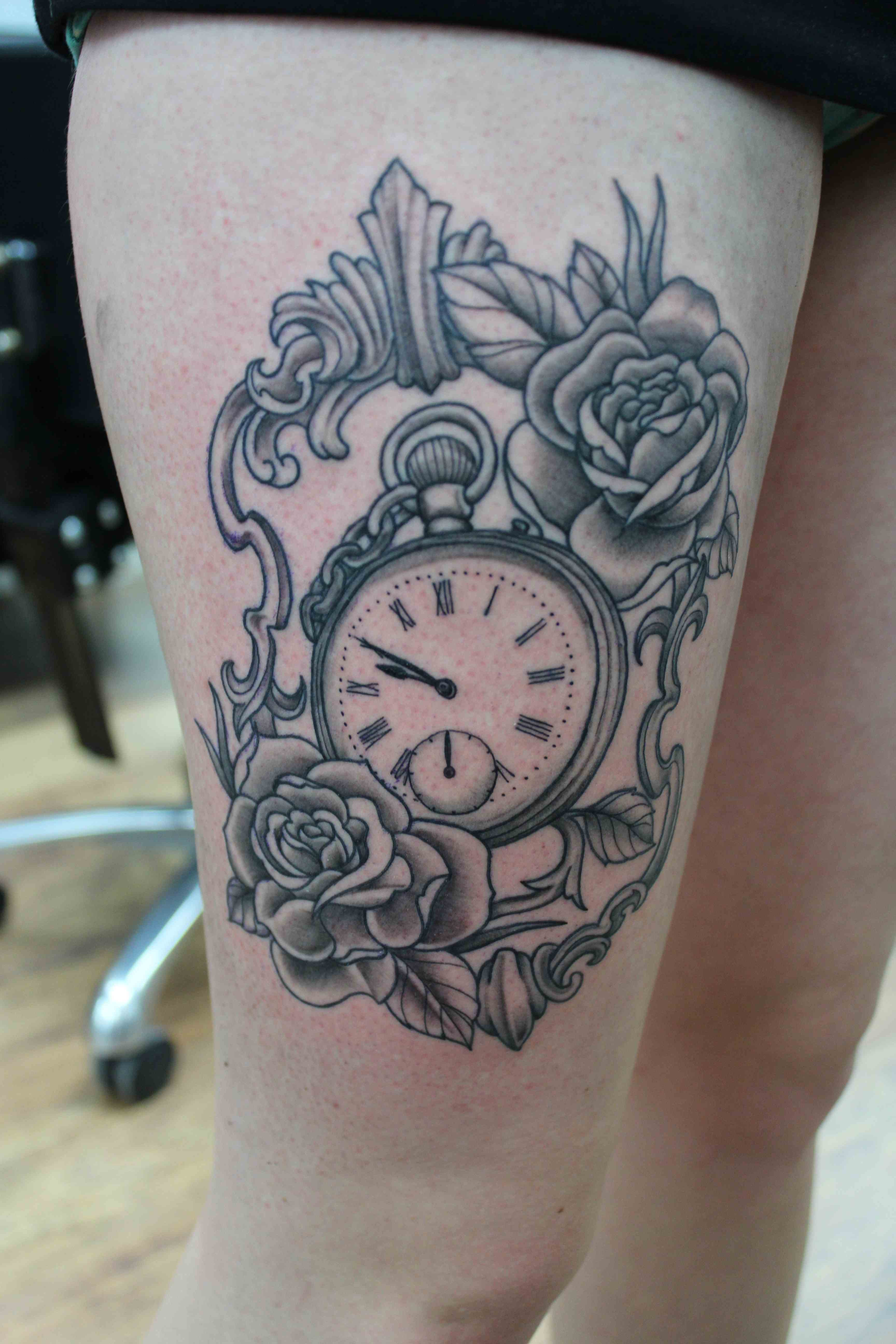 19 pocket watch tattoo images pictures and ideas pocket watch in frame with ros tattoo on thigh jeuxipadfo Image collections