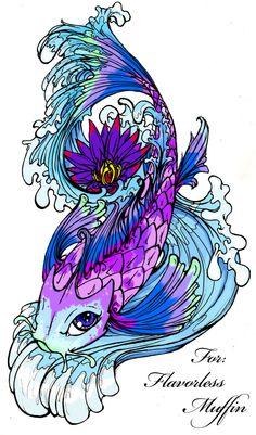 21 koi fish tattoo design and ideas for Blue coy fish tattoo