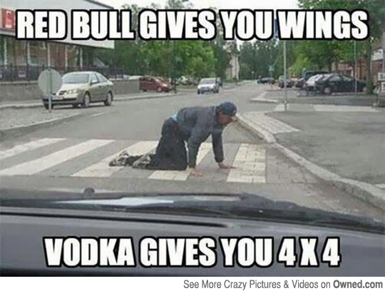 Red Bull Gives You Wings Vodka Gives You 4 X 4 Funny Drunk