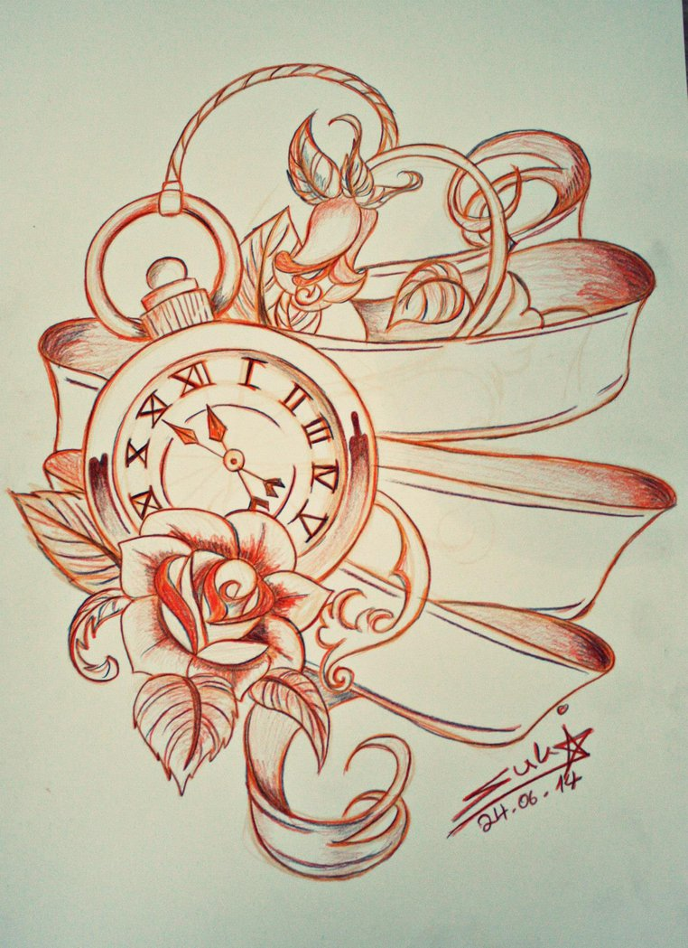 7 latest pocket watch tattoo design ideas. Black Bedroom Furniture Sets. Home Design Ideas