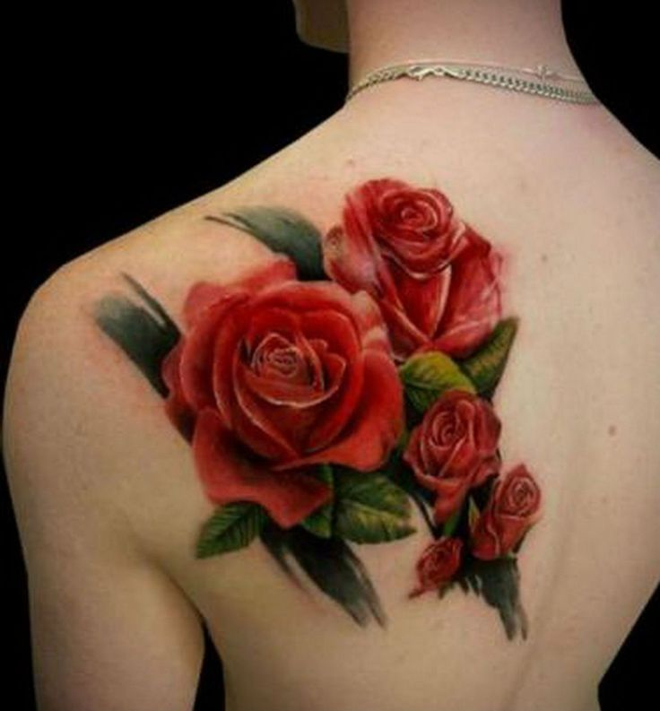 24 red rose tattoo images pictures and ideas for Rose tattoo on back shoulder