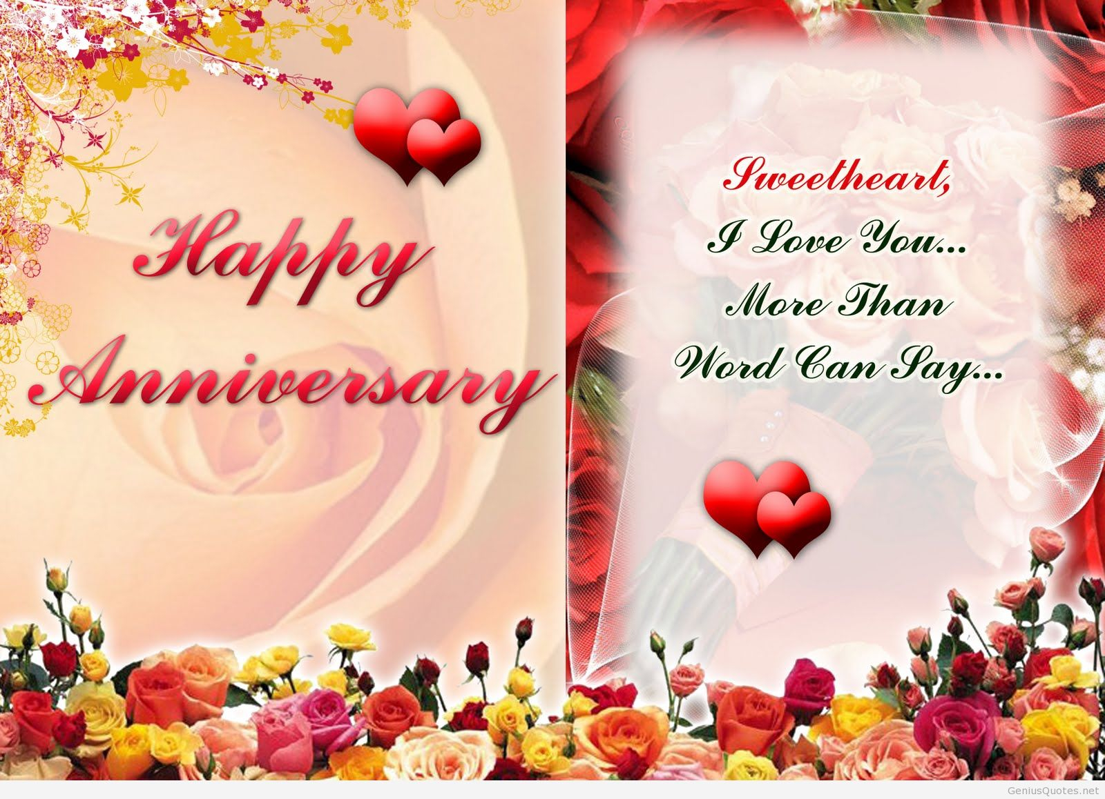 Sweetheart I Love You More Than Word Can Say Happy Anniversary