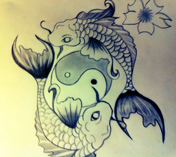 77a5d9dbf Two Koi Fishes With Yin Yang Tattoo Design By Sammie Rose
