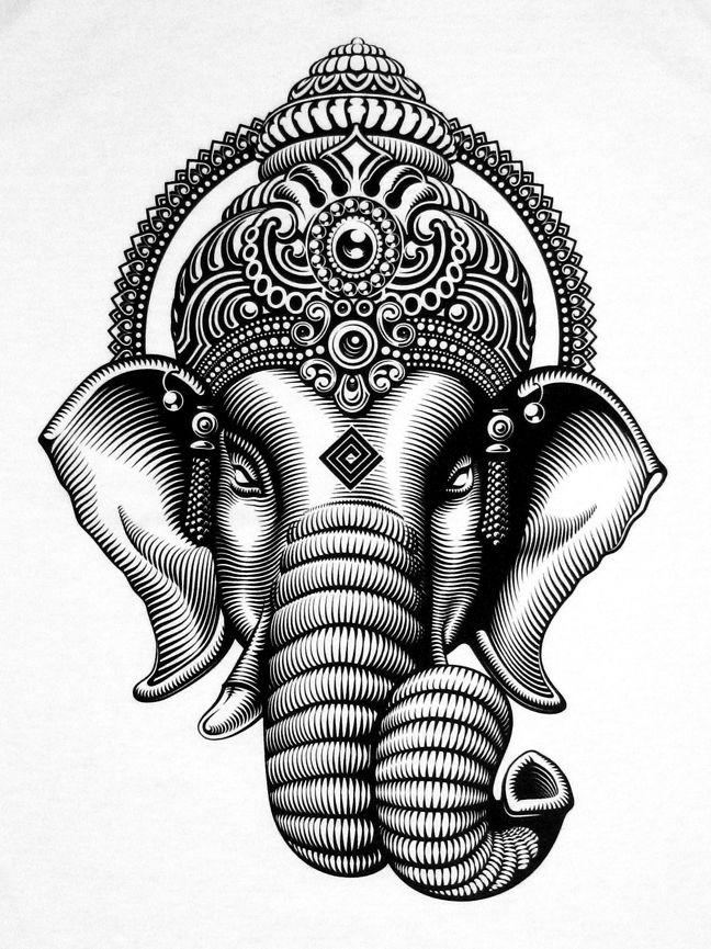 ganesh head tattoo outline - photo #26
