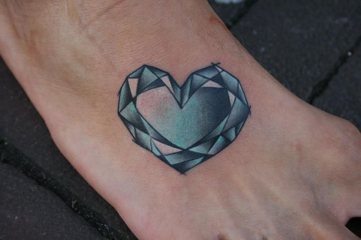 unique heart shape diamond tattoo on foot
