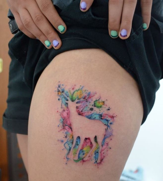c8c5960e2 Watercolor Outline Deer Tattoo On Girl Thigh By Javi Wolf