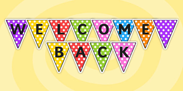 It is a graphic of Slobbery Welcome Back Banner Printable