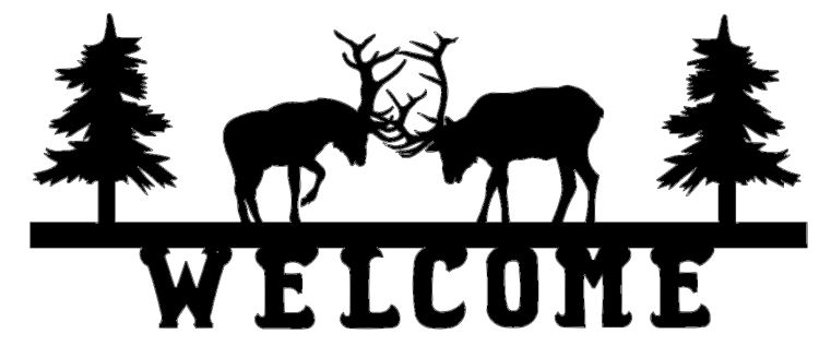 Welcome Deer Couple Sign