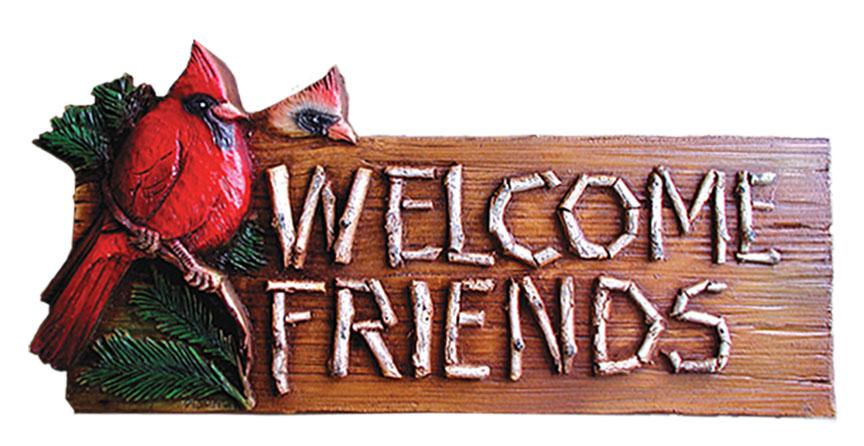 Welcome Friends Birds Wooden Sign
