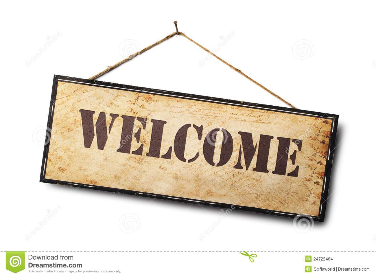 Hand Painted Welcome Sign Beautiful Blue Hydrangeas Slate