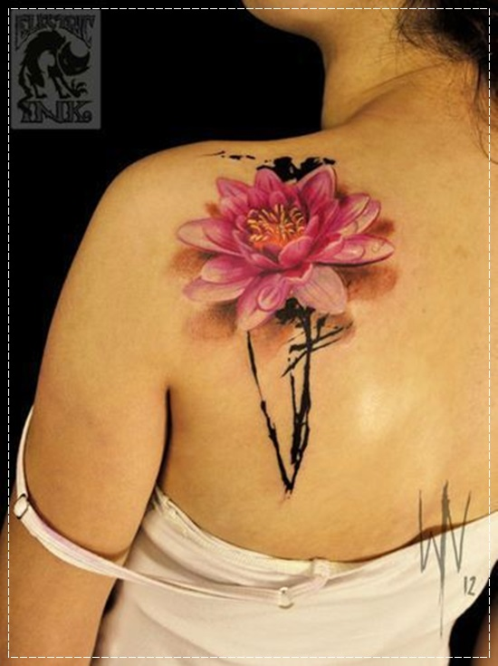 3d pink lotus tattoo on girl left back shoulder rh askideas com pink lotus flower tattoo meaning small pink lotus tattoo