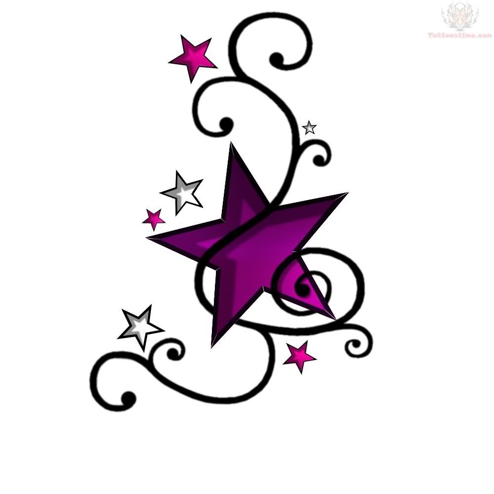 Butterfly star tattoo designs - Amazing Star Tattoo Designs