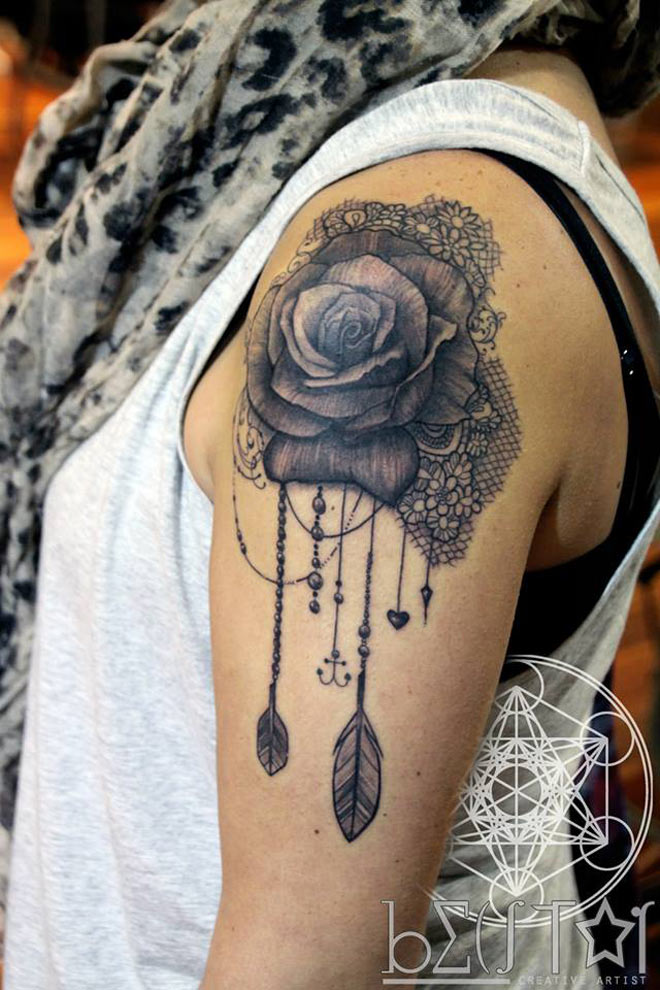 19 awesome lace tattoo designs images and pictures for Rose lace tattoo